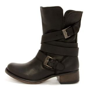 Steve Madden Brewzzer Leather Mid-Calf Moto Boots.